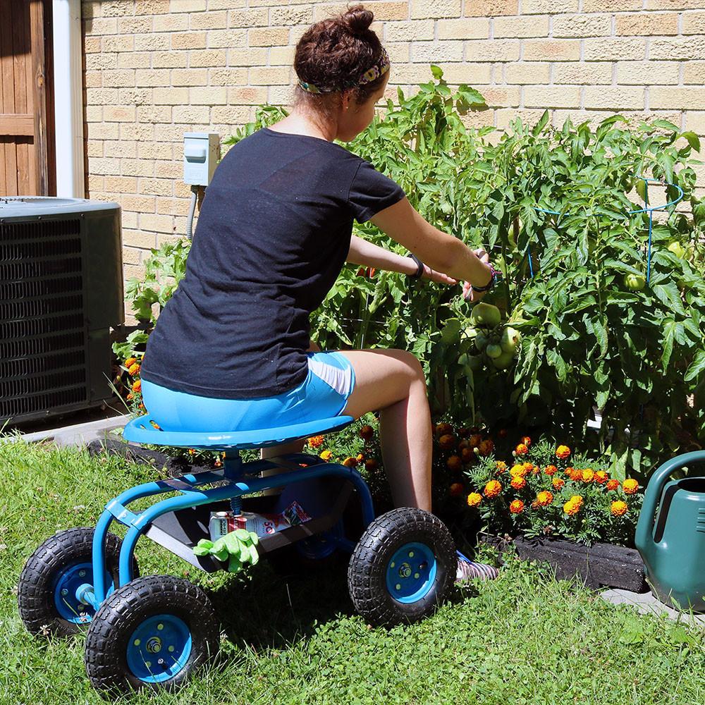 Wonderful ... Blue Rolling Garden Cart With 360 Degree Swivel Seat U0026 Tray ...