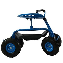 Sunnydaze Rolling Garden Cart With Extendable Steering Handle, Swivel Seat  U0026 Basket