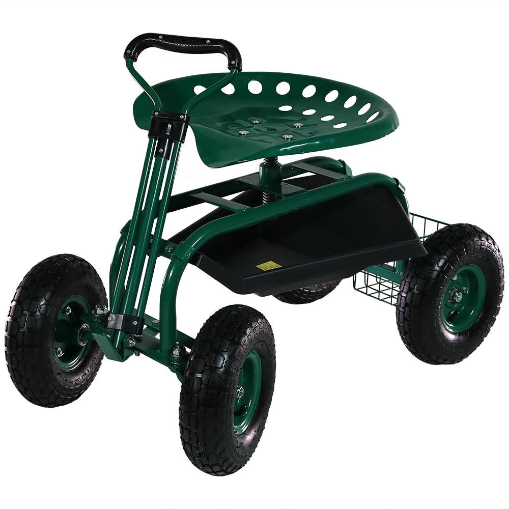 Sunnydaze Rolling Garden Cart on Wheels with Handle