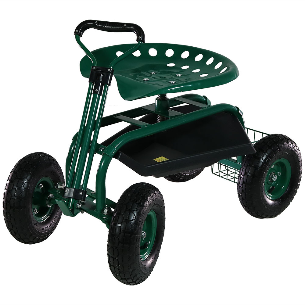 Sunnydaze Rolling Garden Cart On Wheels With Handle