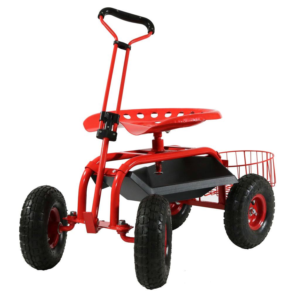 Sunnydaze Rolling Garden Cart w Handle Seat Basket