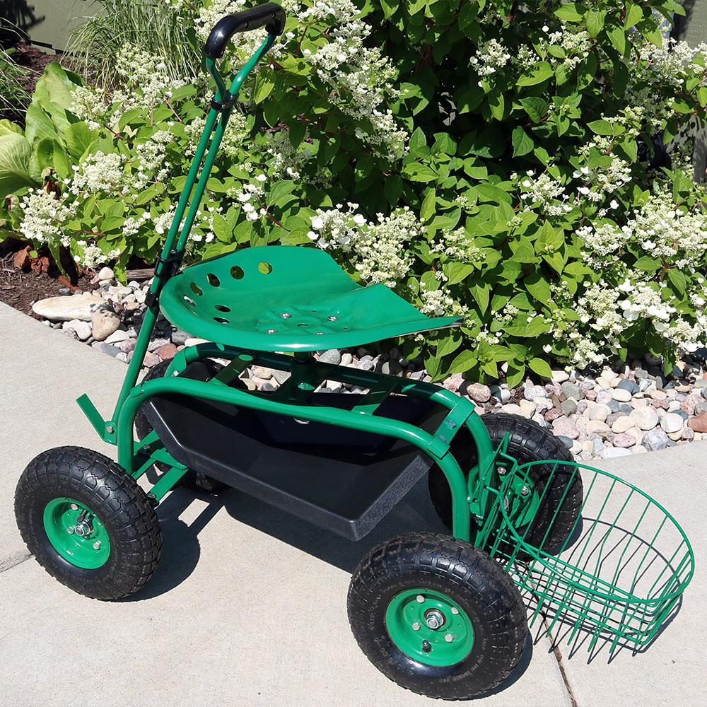 ... Green Rolling Garden Cart With Extendable Steering Handle, Swivel Seat  U0026 Planter Basket