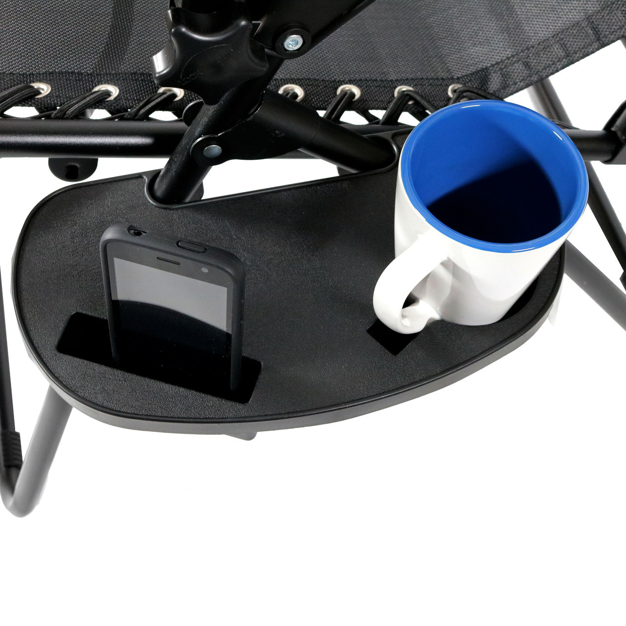 drink holder with coffee mug and smart phone - Zero Gravity Lounge Chair