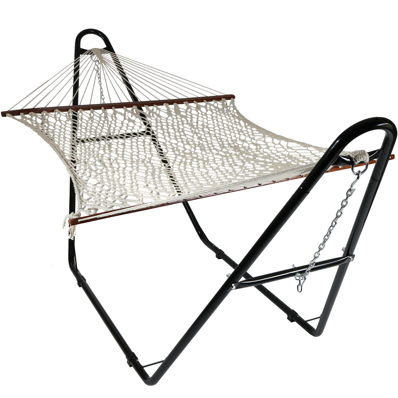 double wide rope hammock with multi use hammock stand  sunnydaze cotton double wide 2 person rope hammock with spreader      rh   serenityhealth