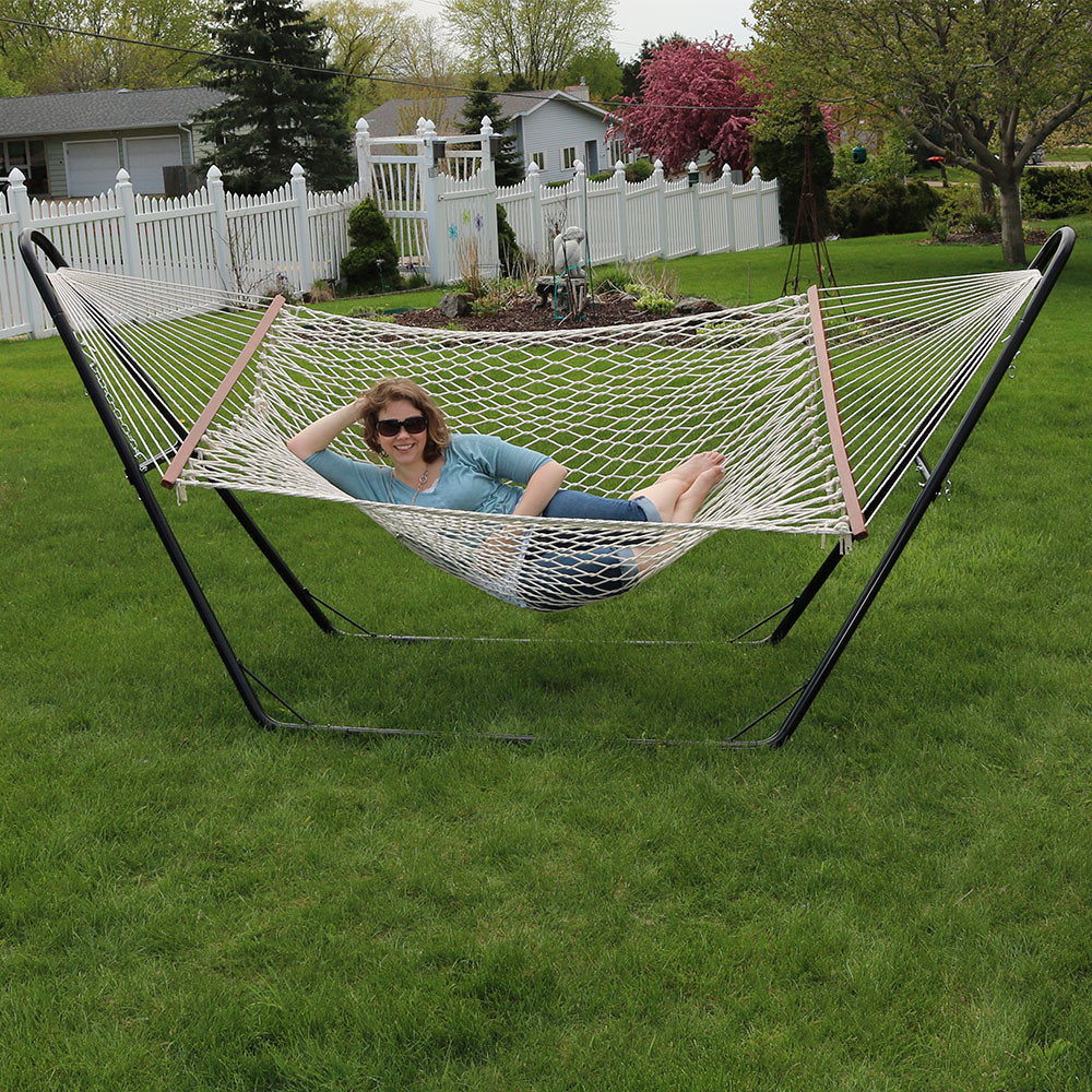Double Wide Rope Hammock With Multi Use Stand