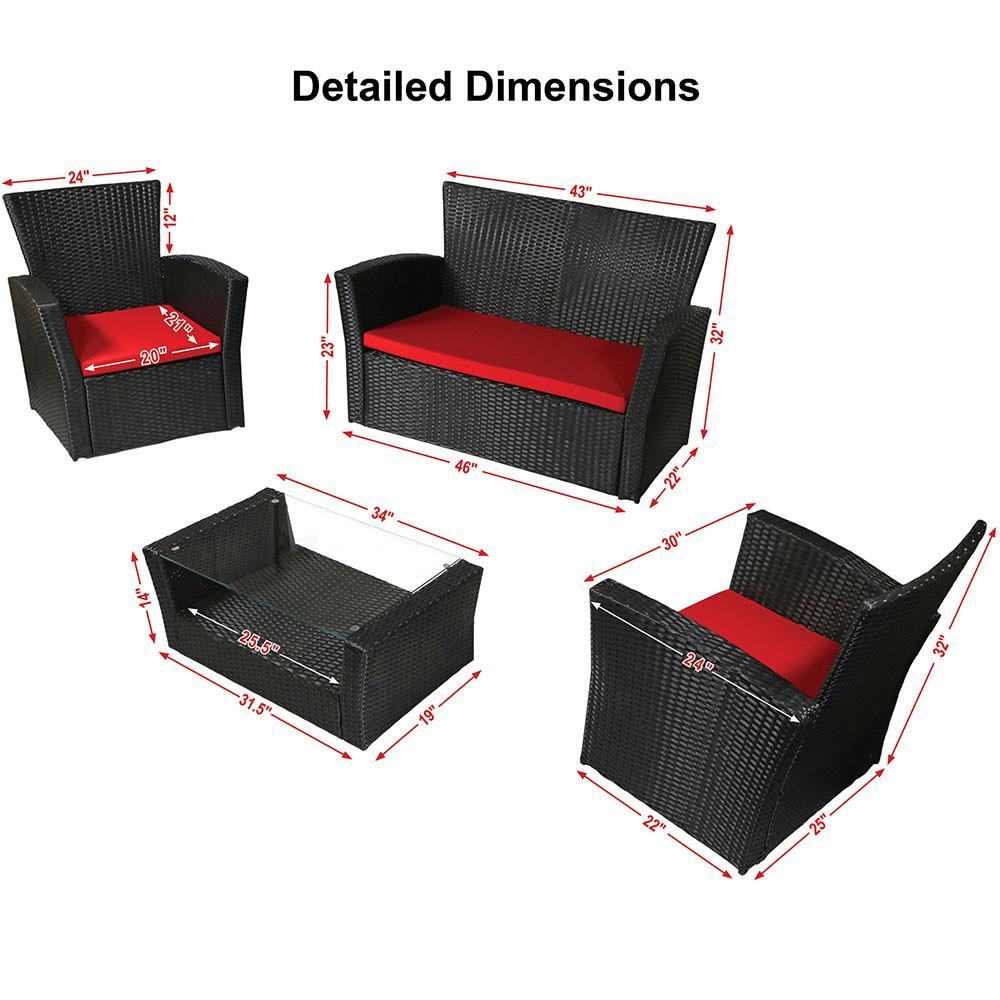 Sunnydaze Brisbane 4Piece Rattan Patio Furniture Set