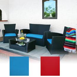 Sunnydaze Brisbane 4-Piece Rattan Patio Furniture Set