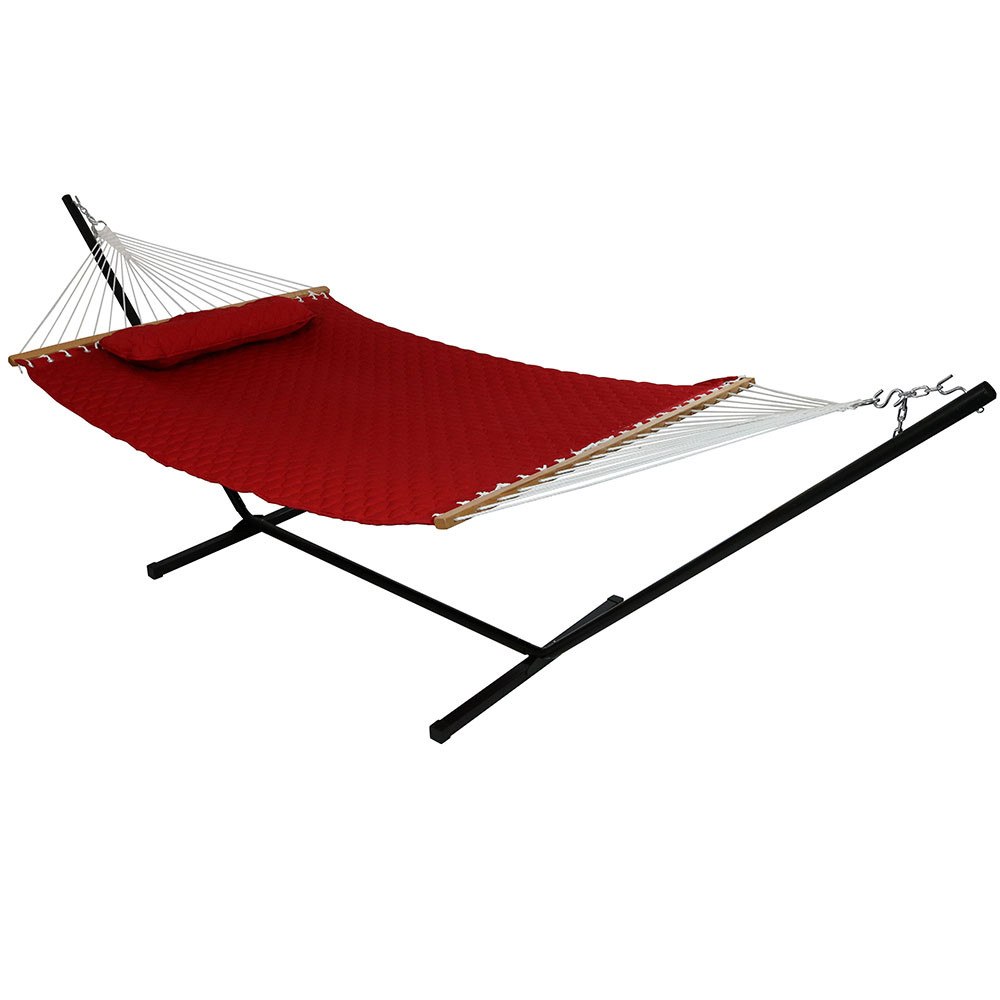 ... Red Hammock on Stand ... - Sunnydaze 2-Person Hammock With Spreader Bars & Pillow