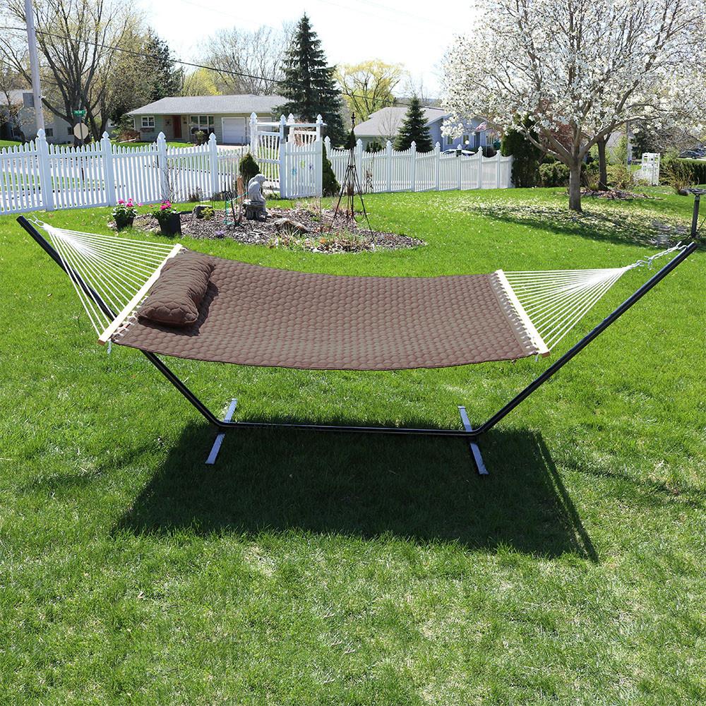 brown hammock on stand  image 7     sunnydaze 2 person hammock with spreader bars  u0026 pillow  rh   serenityhealth