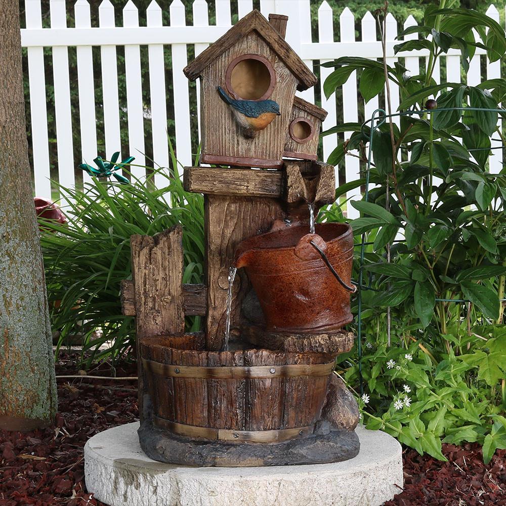 Sunnydaze Bluebird House And Buckets Outdoor Garden Water