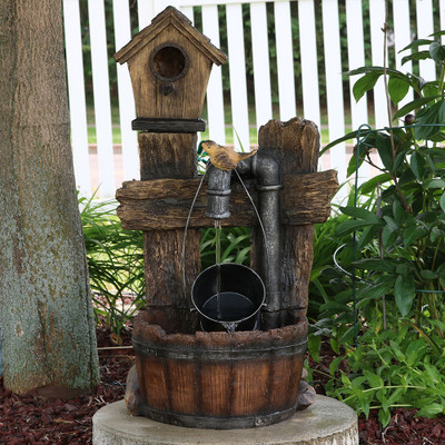 Sunnydaze Birdhouse Leaking Pipe Fountain with LED 29