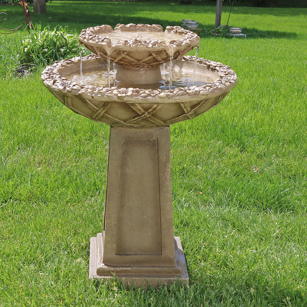 Sunnydaze Beveled Flower 2-Tier Birdbath Water Fountain