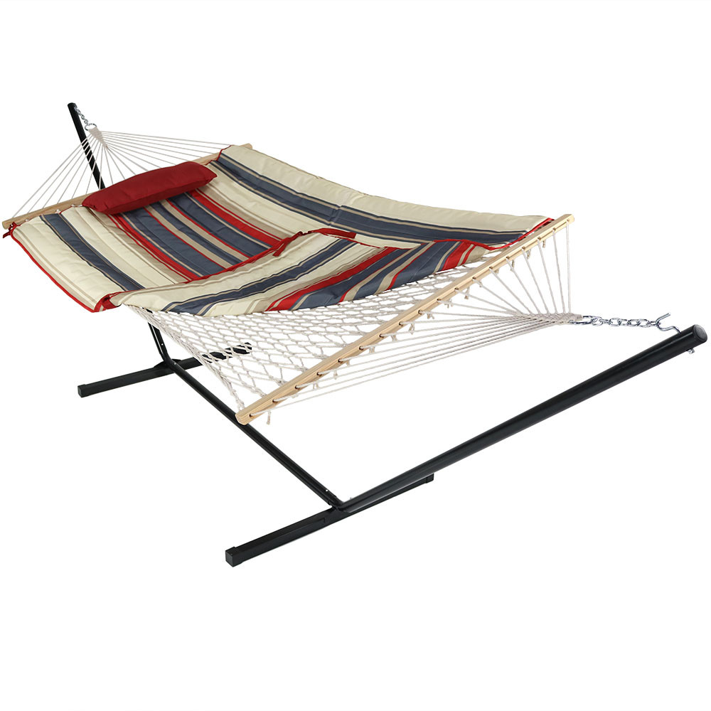 modern lines folded corner  sunnydaze cotton rope hammock with stand pad pillow  rh   serenityhealth