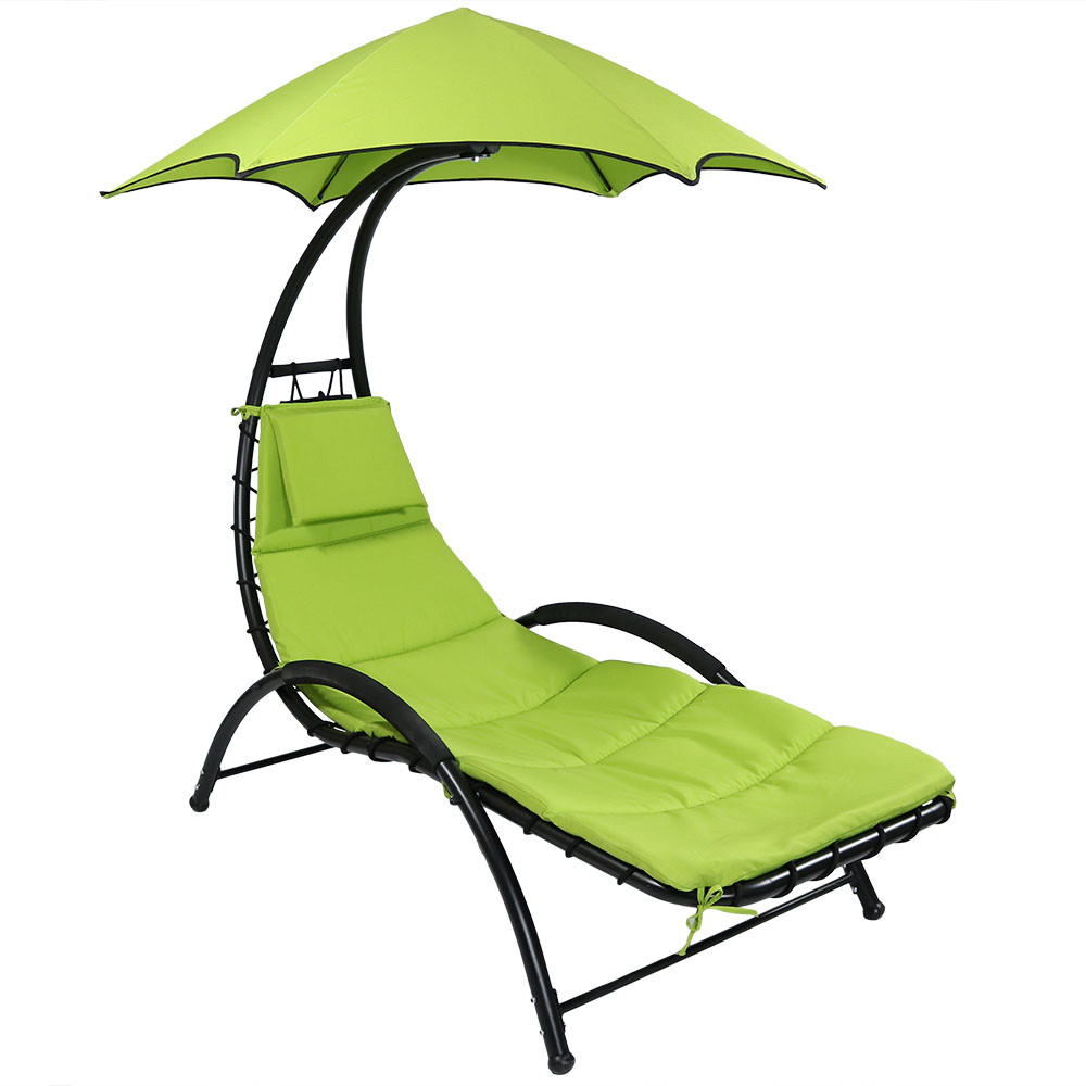 Sunnydaze Chaise Lounge Chair With Canopy And Removable Pad