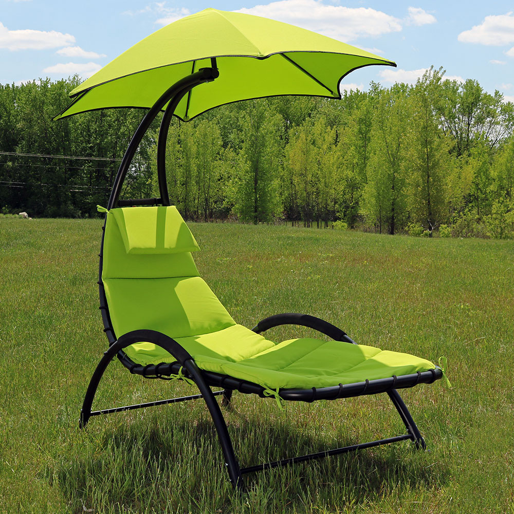 Sunnydaze chaise lounge chair w canopy removable pad for Chaise lounge canopy
