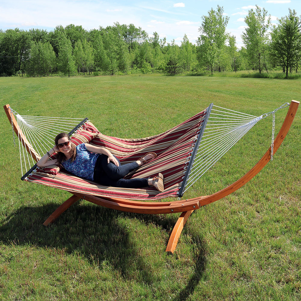 wood outsunny teak stand hammock with arc person double pin canopy outdoor stands roman hammocks set