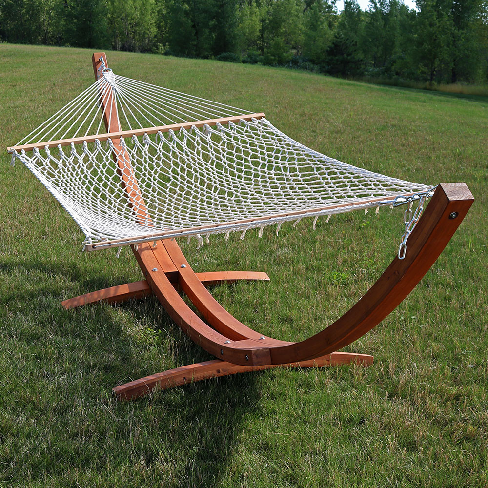 hammock and stand  image 2     sunnydaze cotton double wide 2 person rope hammock with spreader      rh   serenityhealth