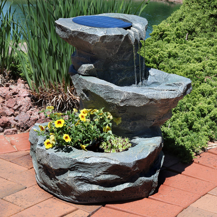 Sunnydaze Solar Water Fountain with Planter 19
