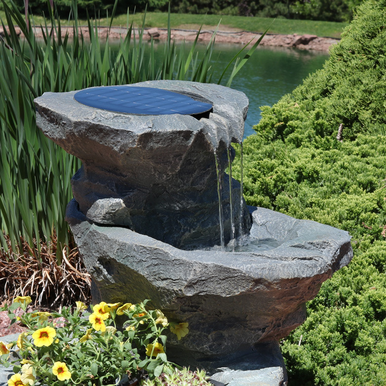 Solar Garden Outdoor Water Fountain With Planter  Plants Not Included; Top  View  Plants Not Included ...
