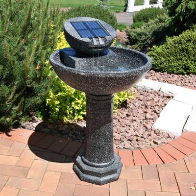 Sunnydaze Modern Solar Birdbath Outdoor Water Fountain 36