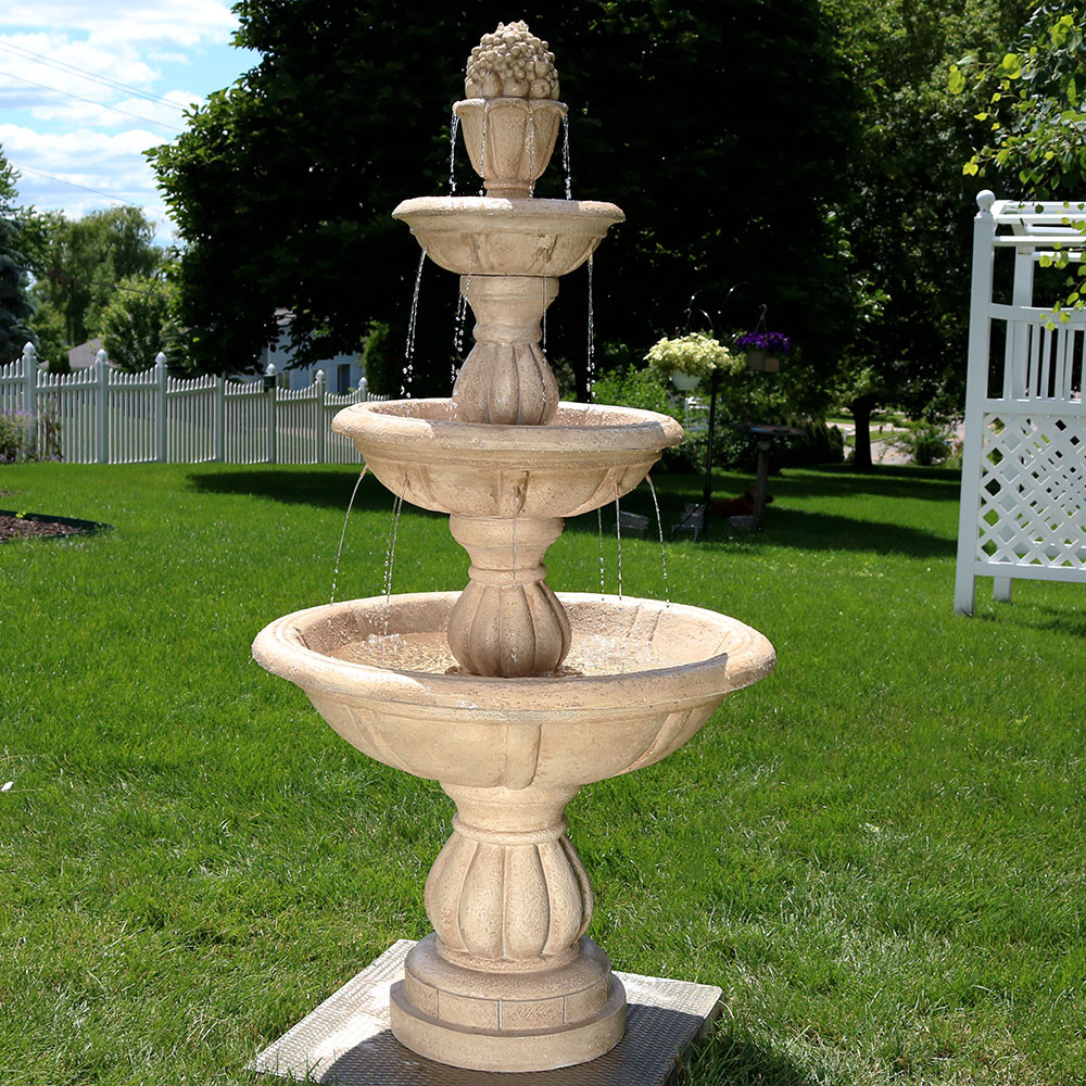 Sunnydaze 3Tier Cornucopia Outdoor Water Fountain