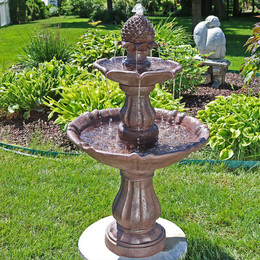 Sunnydaze 2-Tier Curved Plinth Outdoor Water Fountain, 40 Inch Tall