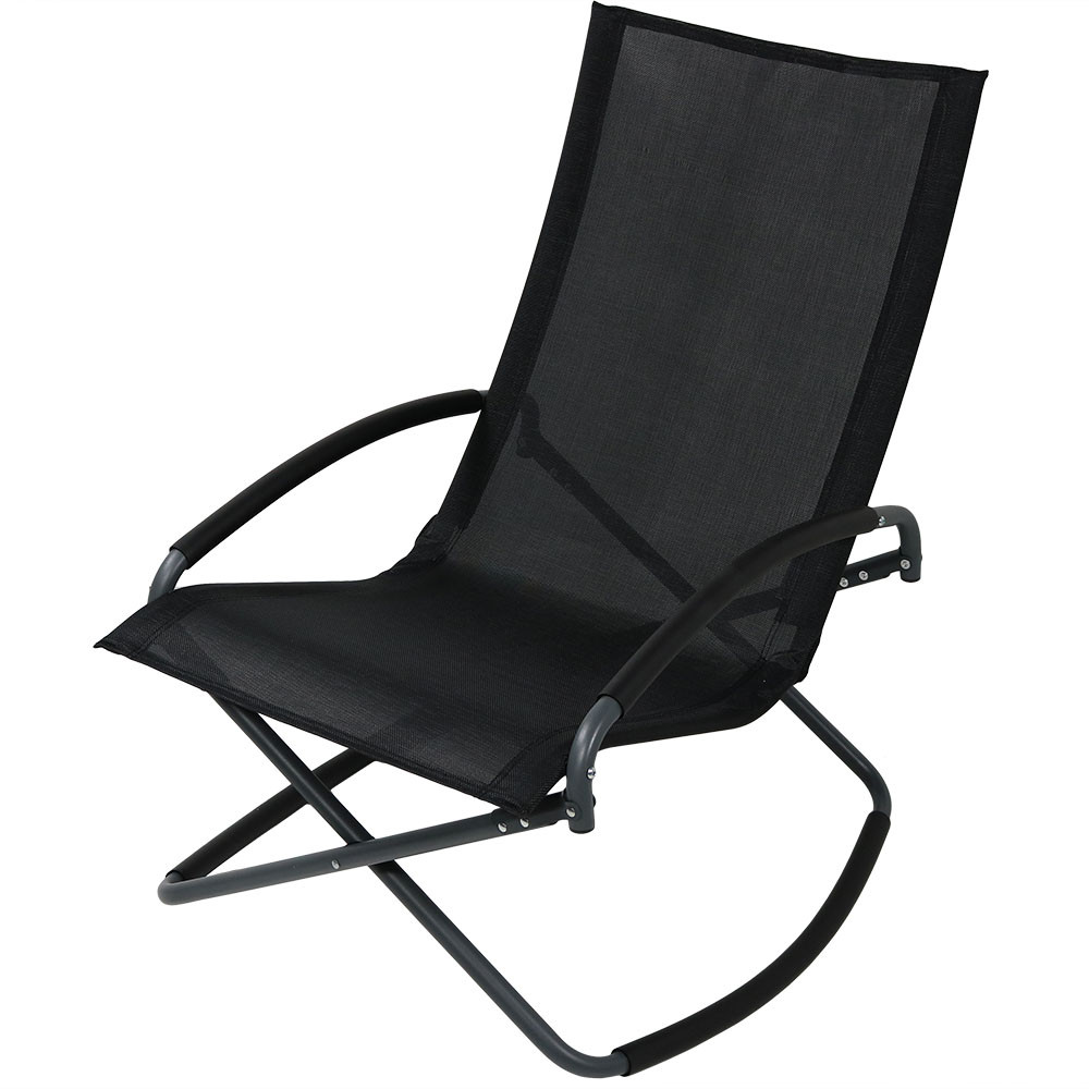 Folding patio lounge chairs -  Black