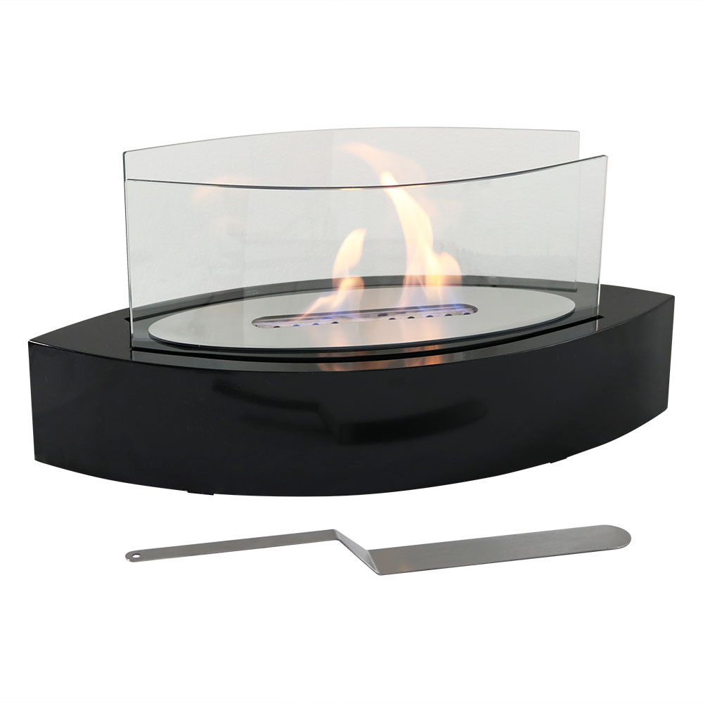 sunnydaze barco ventless bio ethanol tabletop fireplace - black