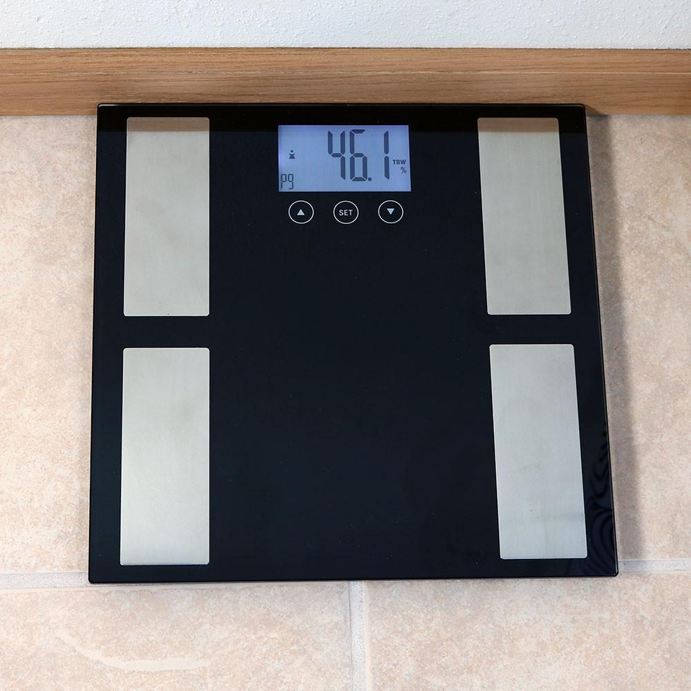 Black Bathroom Scales Sunnydaze Digital Precision High Accuracy Body Fat Bathroom Scale