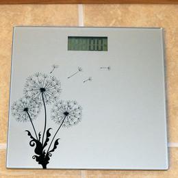 Sunnydaze Precision Digital Glass Bathroom Scale, Silver Dandelion Design