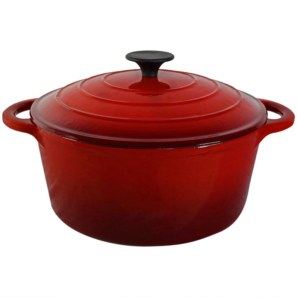 sunnydaze red enamel coated cast iron pot 9. Black Bedroom Furniture Sets. Home Design Ideas