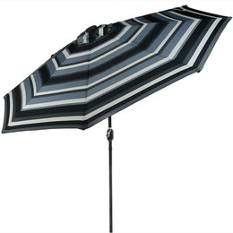 Sunnydaze Striped 9-Foot Aluminum Solar LED Lighted Umbrella with Tilt & Crank