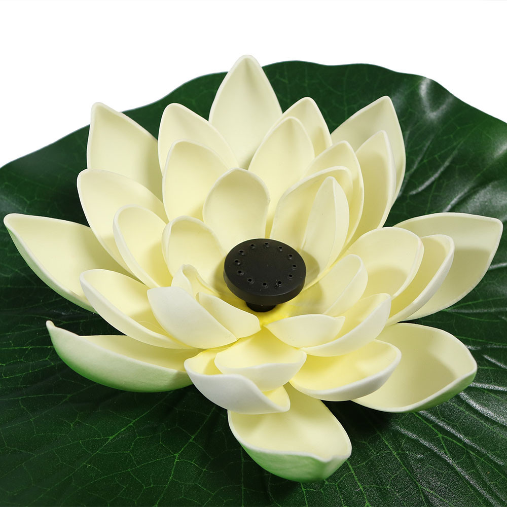 Sunnydaze lotus floating water fountain water fountains white closeup dhlflorist Images