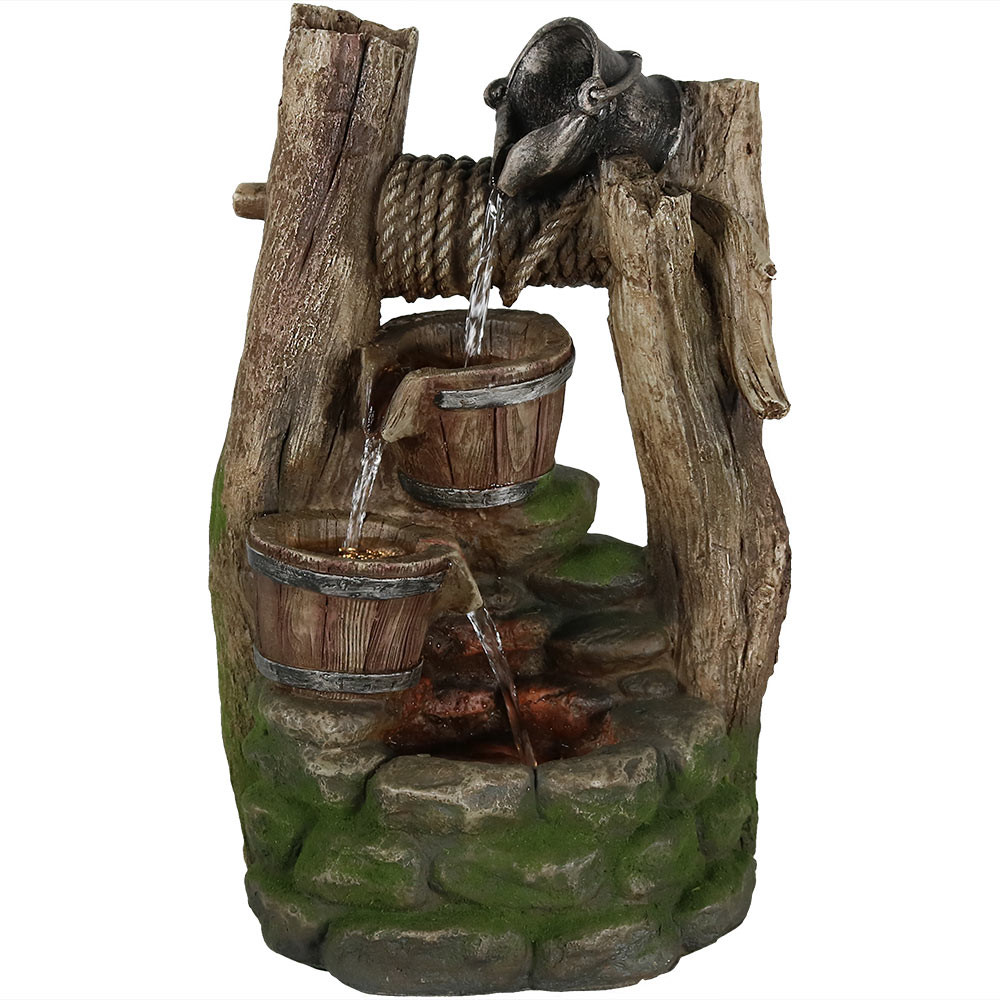 Sunnydaze outdoor wishing well with cascading buckets water fountain image 1 daytime view workwithnaturefo