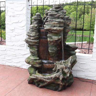 Sunnydaze Flat Rock Summit Waterfall Fountain With Led