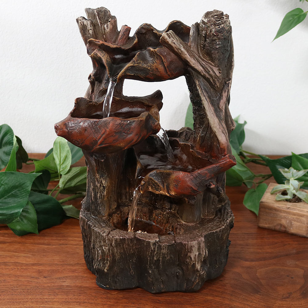 Sunnydaze indoor woodland tree trunk and tiered leaf for Waterfall fountain