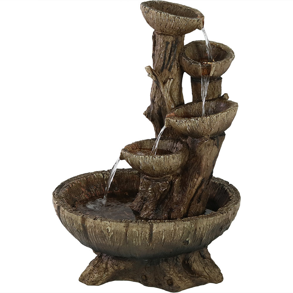 Daytime. - Five Tier Outdoor Wooden Bowl Water Fountain With LED Lights, 32