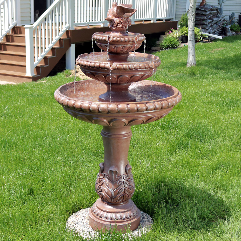 3 Tier Dove Pair Outdoor Water Fountain Daytime View.