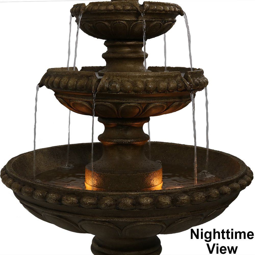 Beau Daytime View; Nighttime View; Fountain Top; Tiers Closeup; Tiers At  Nighttime; Base Back; Light Closeup