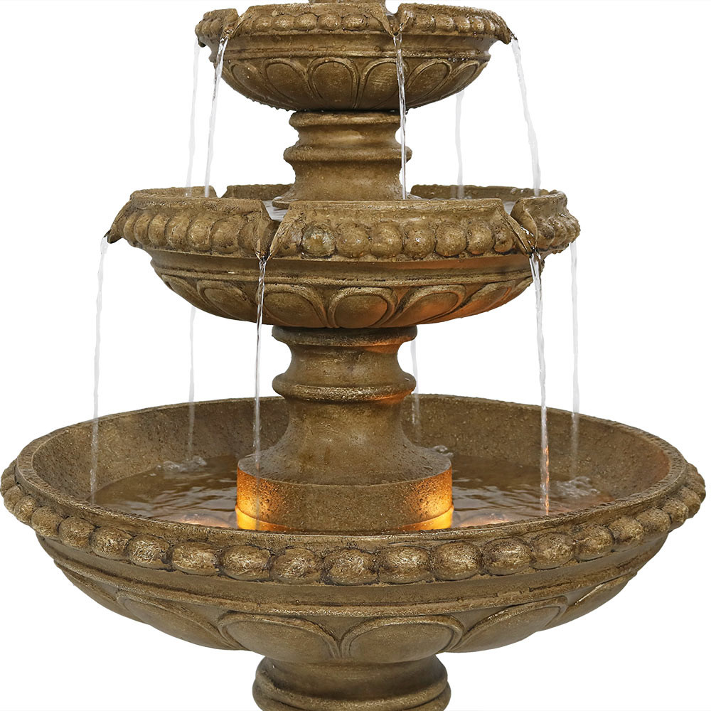 Daytime View; Nighttime View; Fountain Top; Tiers Closeup ...