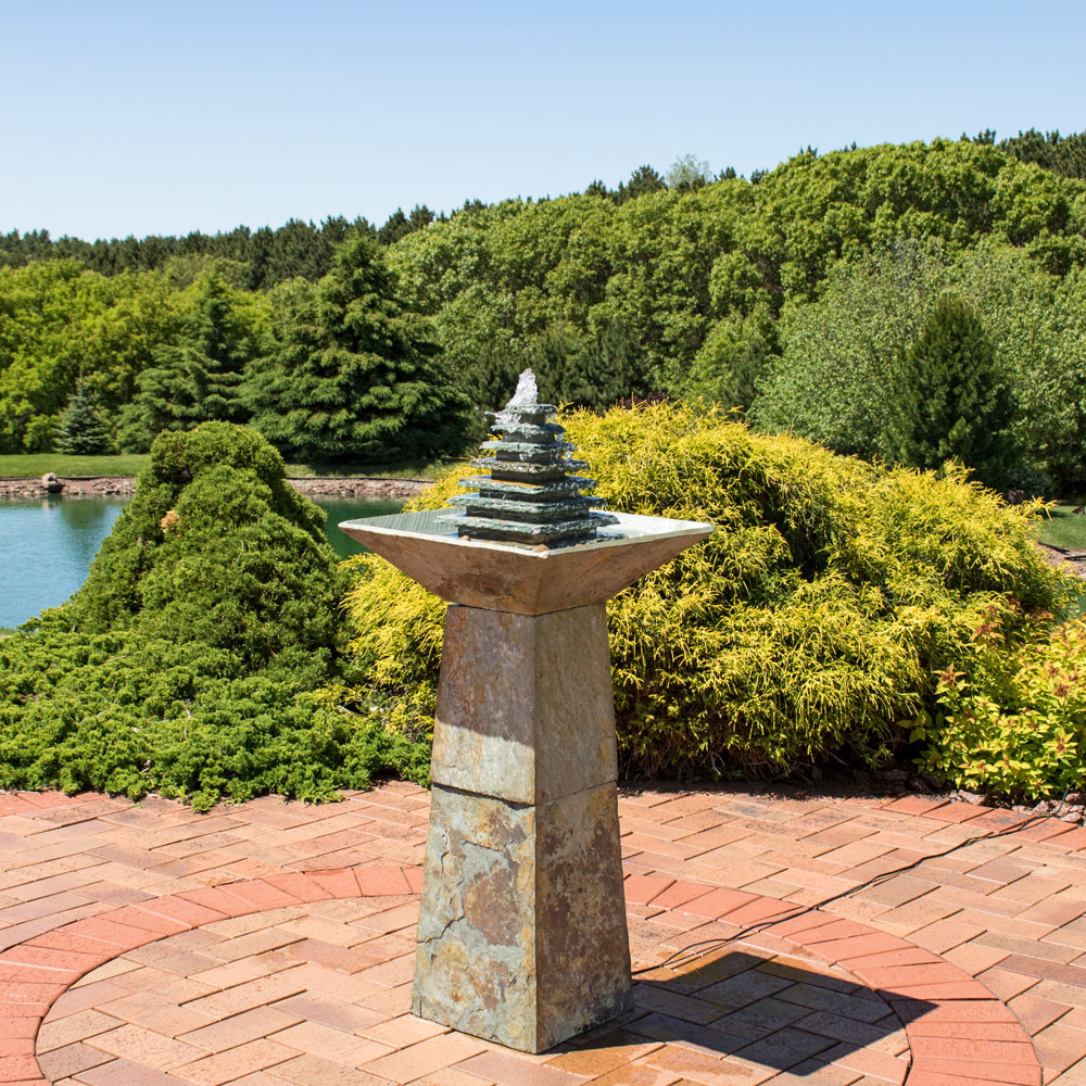 Sunnydaze Layered Slate Pyramid Outdoor Water Fountain with LED