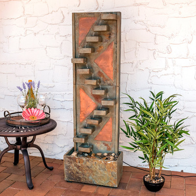 Sunnydaze Descending Staircase Slate Water Fountain With
