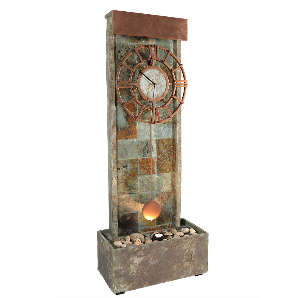 ... Slate Indoor/Outdoor Water Fountain With Clock And LED Spot Light ...