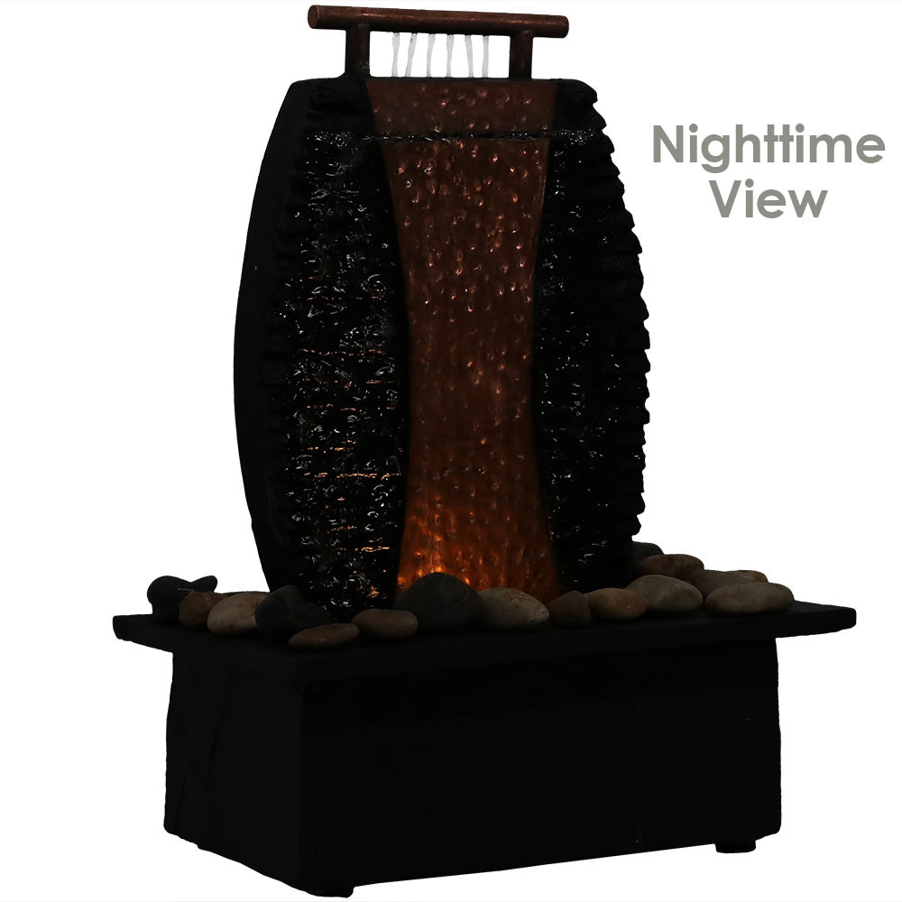 Sunnydaze copper accent flowing falls slate indoor tabletop water indoor tabletop water fountain nighttime view workwithnaturefo