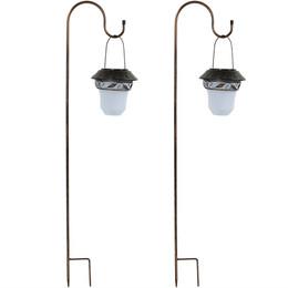 Elegant Solar Lantern With Shepherd Hook - Set of Two