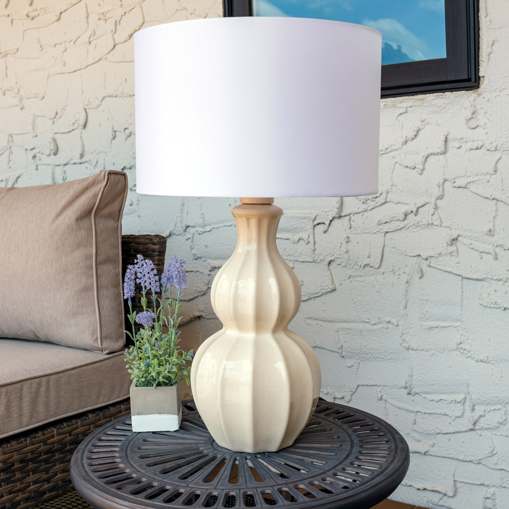 Sunnydaze indooroutdoor white curved ceramic table lamp 26 inch outdoor aloadofball Image collections