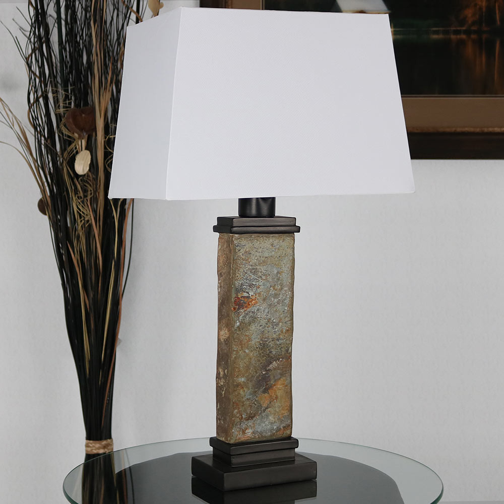 Sunnydaze Indoor/Outdoor Thin Natural Slate Table Lamp, 26 Inch ...