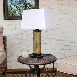 Sunnydaze Indoor/Outdoor Copper Trimmed Slate Table Lamp, 30 Inch ...