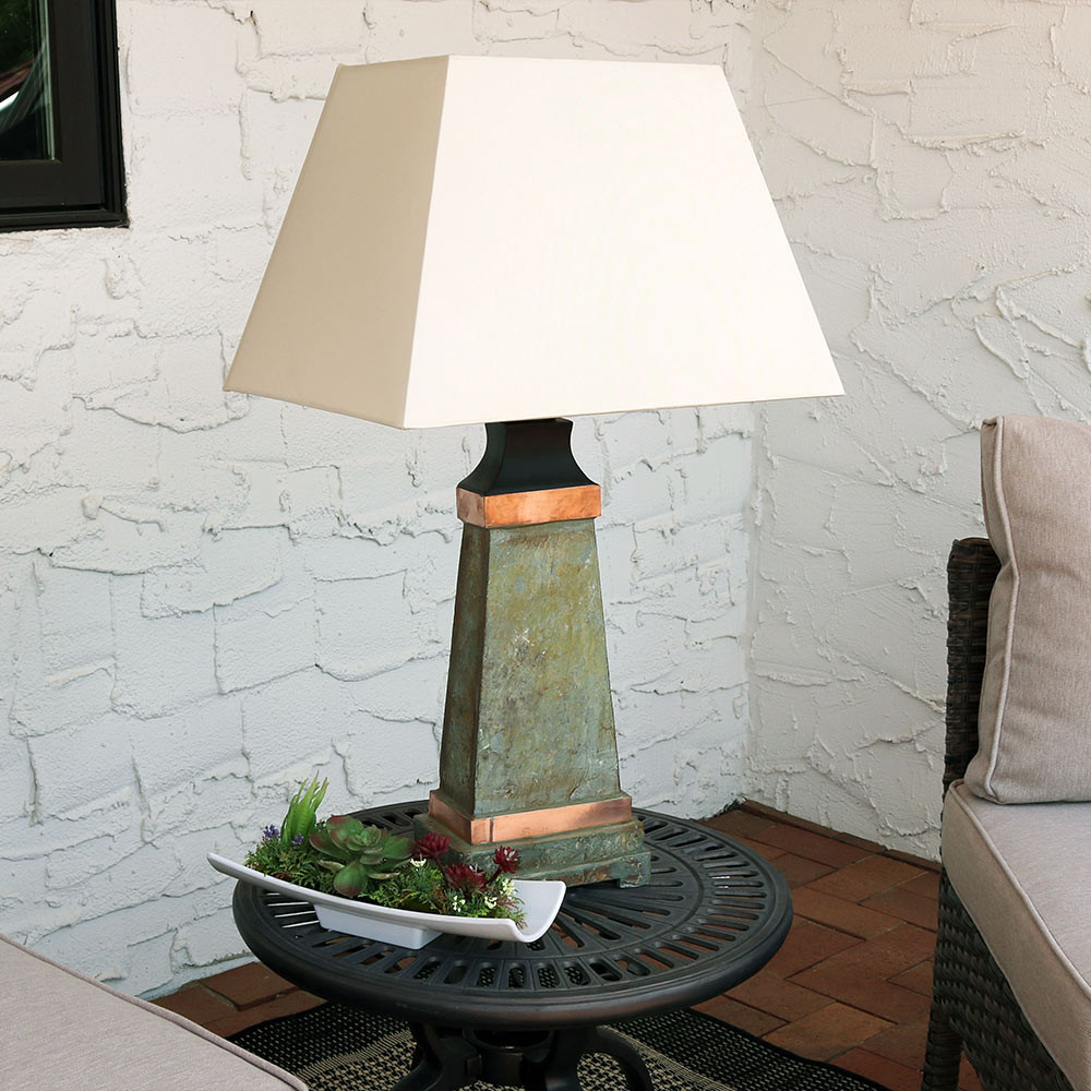 Sunnydaze indooroutdoor copper trimmed slate table lamp 30 inch outdoor use aloadofball Images