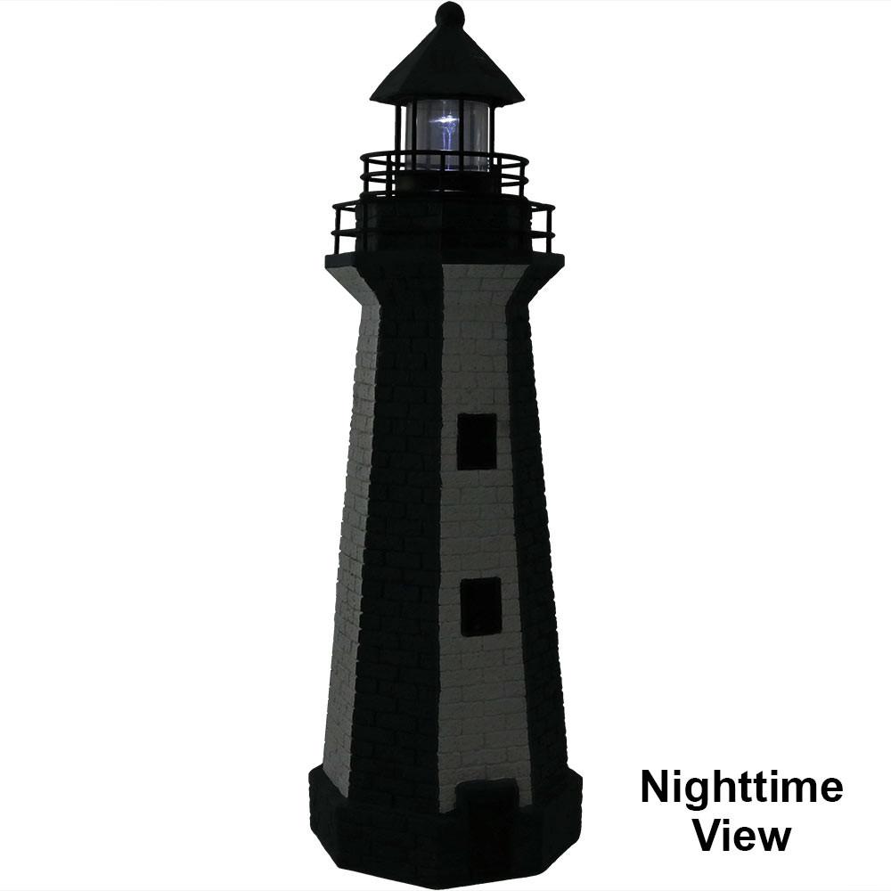 Sunnydaze solar striped led lighthouse outdoor decor 36 inch tall blue stripe nighttime sciox Choice Image